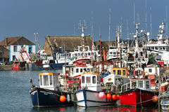 Fischerboote in Howth-harborand 201 im September, Howth (Dublin) Lizenzfreie Stockfotografie