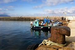 Fischerboote im Hafen stockbild