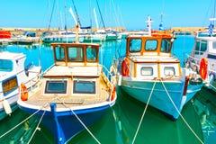 Fischerboote im Hafen in Iraklio Lizenzfreies Stockfoto