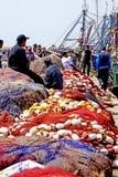 Fischerboote im Hafen von Essaouira Stockfotografie