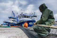 Fischerboote in Izmir Karaburun Stockbild