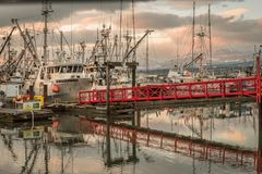 Fischerboote am Jachthafen Stockfotografie