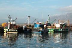 Fischerboote machten im Kalk-Buchthafen, Cape Town fest stockbild