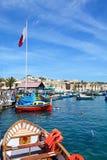 Fischerboote in Marsaxlokk-Hafen, Malta stockbild