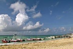 Fischerboote, Playa del Carmen Stockbild