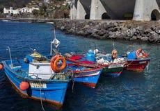 Fishing boats in the Atlantic Ocean at Santa Cruz on Madeira royalty free stock photos