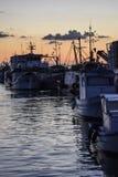 Fischerboote am Sonnenuntergang Lizenzfreies Stockfoto