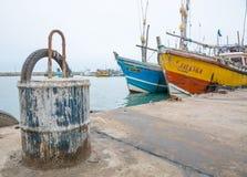 Fischerboote in Tangalle-Hafen Stockfotografie