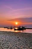 Fischerboote und Sonneanstieg Stockfoto