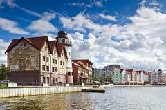 Fischerdorf - ethnographische Mitte. Kaliningrad (bis 1946 Koenigsberg), Russland Lizenzfreie Stockfotos