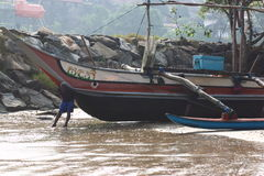 Fischerdorf nahe Galle, Sri Lanka Stockbild