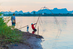 Fischerei auf dem Mekong Lizenzfreie Stockfotos