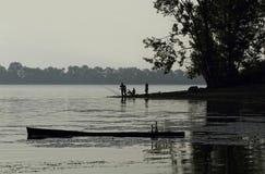 Fischerei auf dem See Stockbild