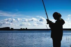 Fischerei auf der Flussbank 6 Lizenzfreies Stockfoto