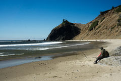 Fischerei auf der Küste Lizenzfreies Stockfoto