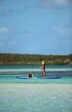 Fischerei auf paddleboard Stockfotos