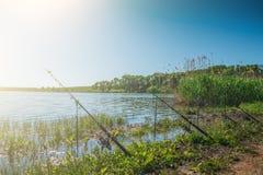 Fischerei auf See oder Teich am sonnigen Tag, an einigen Angelruten oder an den Stangenständen auf Haltern Stockfotos