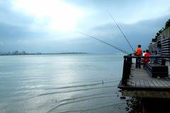 Fischerei bei Danshui Stockbilder