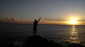 Fischerei bei dem Sonnenuntergang Lizenzfreies Stockfoto
