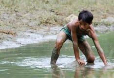 Fischerei in den Kindern Stockfotografie
