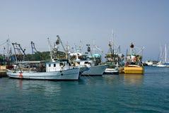 Fischerei der Lieferungen im Kanal von Vrsar stockfotos