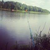 Fischerei des Flusses lizenzfreie stockfotos