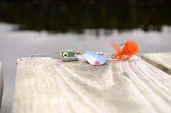 Fischerei des Köderblaus, -GRÜNS und -orange Stockfoto