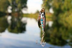 Fischerei des Köders auf dem grünen Hintergrund Lizenzfreies Stockfoto