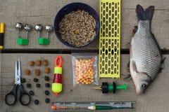 Fischerei des Sets Stockfotografie