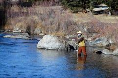 Fischerei für Forelle Stockfotos