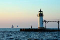 Fischerei am Leuchtturm Stockfoto