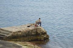 Fischerei mit Katzen in Malta Stockfoto