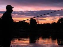 Fischerei am Morgen Stockfotos