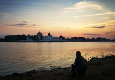 Fischerei in Russland, Kostroma-Stadt Stockfotos