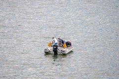 Fischerei von einem Boot an Gordons-Bucht Lizenzfreie Stockfotos