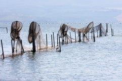 Fischerei von Fallen in Lago di Varano, Italien Lizenzfreie Stockfotografie