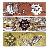 Fischerei von horizontalen Fahnen lizenzfreie abbildung