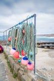 Fischereiausrüstung Sennen-Bucht in Cornwall England Großbritannien Stockbild