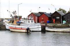 Fischereiboote in Abbekas beherbergten, Süd-Schweden Stockbilder