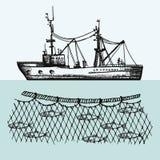 Fischereifahrzeugvektor fischereien Fische in der Netzhandzeichnungsillustration Stockfotos