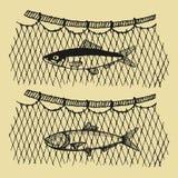 Fischereifahrzeugvektor fischereien Fische in der Netzhandzeichnungsillustration Stockfotografie