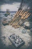 Fischereihafen, Fischerboote auf dem Strand, Sand und Meer Stockfotografie