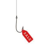Fischereihaken mit einem roten Verkaufsaufkleber Verkaufskonzept - Hand mit Vergrößerungsglas Stockbild