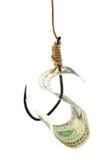 Fischereihaken und -geld Stockbild