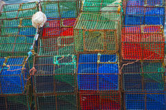 Fischereitöpfe stockbilder