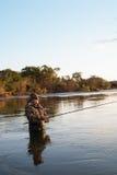 Fischerfänge von Lachsen im Sonnenuntergang. Stockfotografie