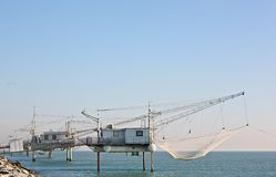 Fischerhäuser in Italien Stockbild