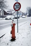Germany, rural highway in winter under snowfall Stock Images