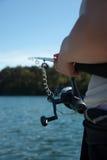Fischerholdinggestänge Stockfoto
