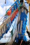 Fischernetz auf dem Schiff Lizenzfreies Stockbild